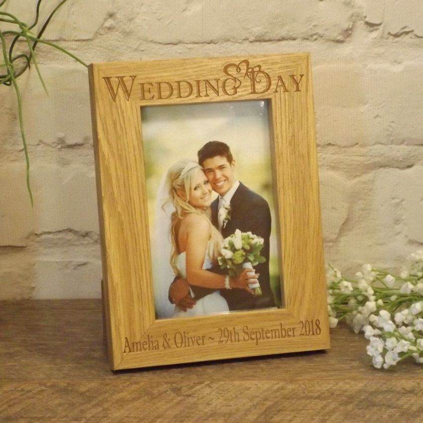 Personalised Wedding Day Hearts Wooden Photo Frame Wedding Gift